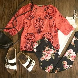 Tart collections coral Louisa lace eyelet blouse